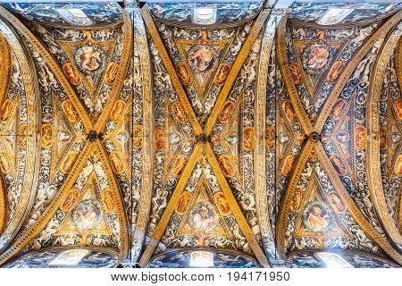 PARMA ITALY - 4 JUNE 2017: Parma Italy - Interior of Catedrale de Parma built in 1059. Romanesque architecture in Emilia-Romagna.