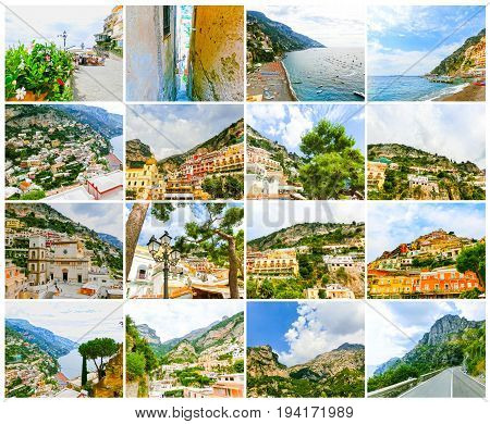 The collage of views of Positano at Italy along the stunning Amalfi Coast.