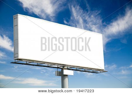 Huge blank billboard against blue sky for your advertisement