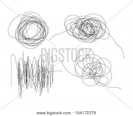 Set of hand drawn scribble line shapes with start and end. Isolated scrawl sketches on white background