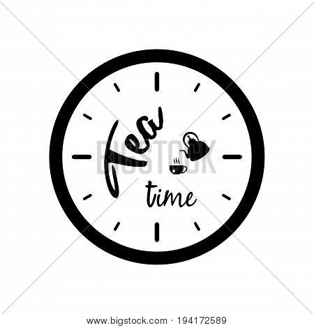 Clock silhouette with tea pot cup and Tea Time text isolated on white background