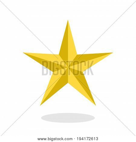 Golden star icon with drop shadow in flat style isolated on white background