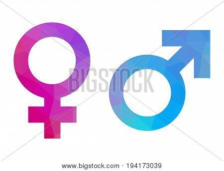 Gender symbols triangular style over white background