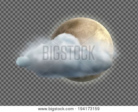 Vector illustration of cool single weather icon with realistic night moon with cloud floats isolated on transparent background