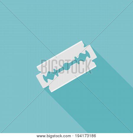 Razor blade icon, flat design with long shadow