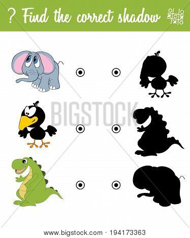 Find the correct shadow. Education game for children with cartoon animals