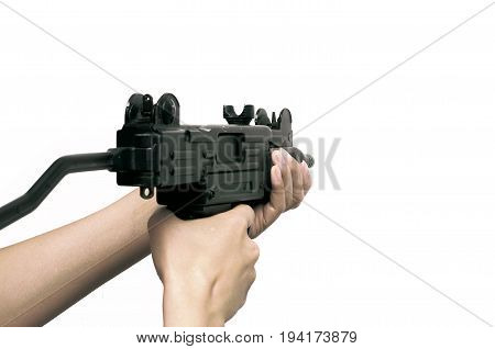 Sub machine gun in hands isolated. Weapon.