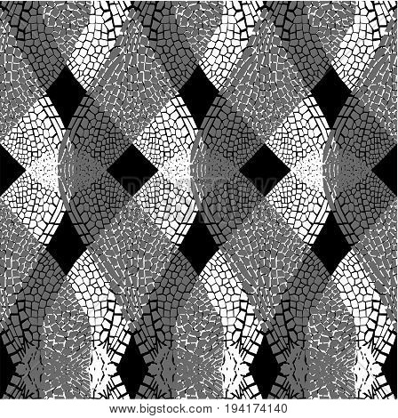 Seamless monochrome  vector pattern with dragonfly wings