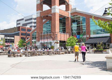 London Ontario Canada-June 3 2014: Covent Garden Market an iconic landmark and gathering place in downtown London. locals and tourists flock here for fresh made food produce and unique goods