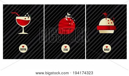 luxury food poster set. vector illustration of cafe icons on black background