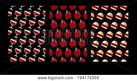 geometry cafe pattern. luxury food poster set. vector illustration on black background
