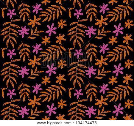decorative stylized simple tropical floral pattern on black background