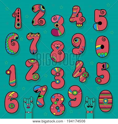 Artistic Numerals. Pink signs with bright colorful decor. Superhero and Disco Style. Cartoon Hands. Illustration