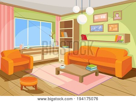 Vector illustration of a cozy cartoon interior of a home room, a living room with a sofa, coffee table, chest of drawers, shelf and window