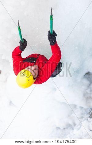 The Climber Climbs On Ice.