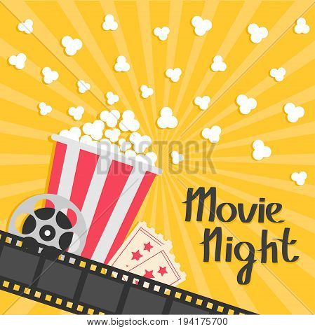 Popcorn popping. Big movie reel. Ticket Admit one. Three star. Cinema movie icon in flat design style. Film strip border. Red yellow strip box. Yellow star burst sunburst wave background Vector