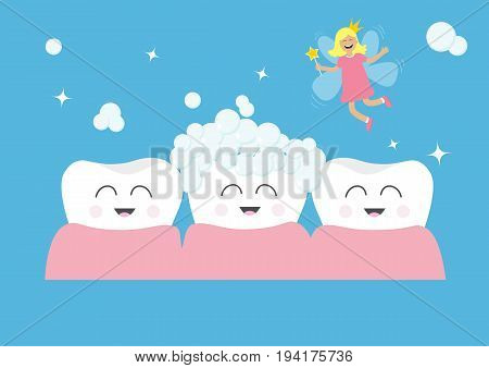 Three tooth gum icon set. Tooth fairy flying wings. Magic wand fairy dust. Brush your teeth. Cute funny cartoon smiling character. Oral dental hygiene. Health care. Baby background Flat design. Vector