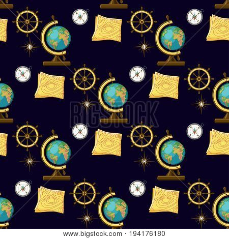 Geography themed seamless pattern on dark blue background with school globe, map, compass, wind rose and ship wheel. Back to school collection, part 3. Vector illustration.