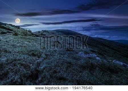 grassy meadow of a hillside on top of mountain ridge. beautiful summer landscape with blue sky and a cloud