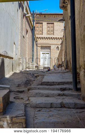 Local residential street in Bukhara center Uzbekistan