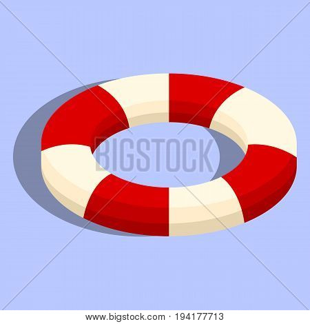 Isolated lifebuoy or swimming ring. Colorful stripped flat 3d elements isolated on the background. Vector isometric illustration. Eps10.