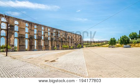 ELVAS,PORTUGAL - MAY 16,2017 - View at the aqueduct in Elvas. Elvas is a Portuguese municipality former episcopal city and frontier fortress of easternmost central Portugal.