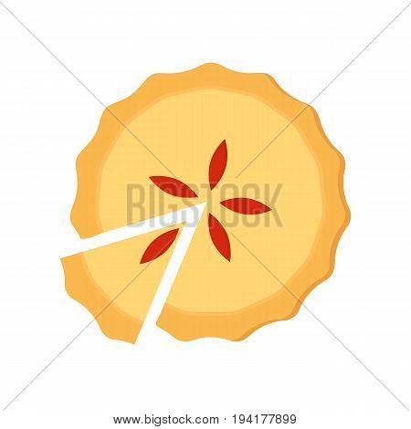 Homemade pie. Flat vector illustration isolated on white background. Top view. Could be used as icon or design element. Easy to scale and recolor. Eps10