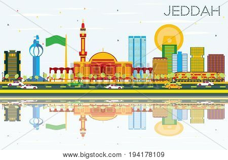 Jeddah Skyline with Color Buildings, Blue Sky and Reflections. Business Travel and Tourism Concept with Modern Buildings. Image for Presentation Banner Placard and Web Site.
