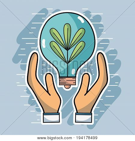 hands with bulb and plant inside to ecology conservation vector illustration