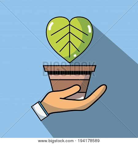 hand with natural plant to ecology conservation vector illustration