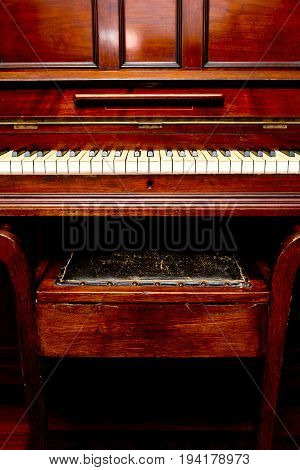 Antique Piano - Front View Of Piano Keys And Stool