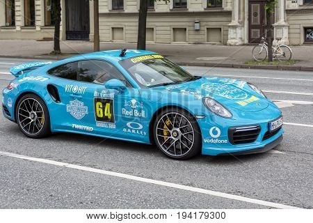 Riga, LV - JULY 1, 2017: Gumball 3000 Race Car 64