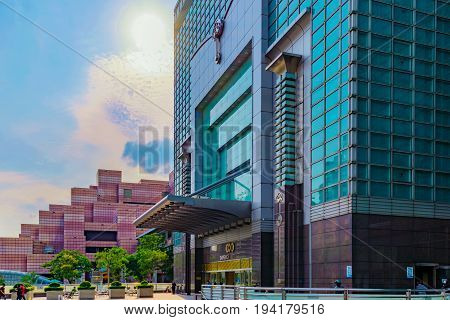 TAIPEI TAIWAN - MAY 31: This is the entrance to the Taipei 101 mall which is a popular luxury shopping mall in the Xinyi financial district on May 31 2017 in Taipei