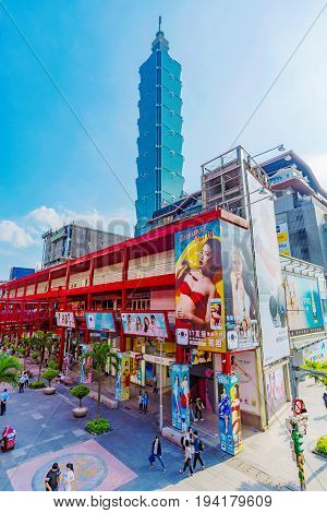 TAIPEI TAIWAN - MAY 31: This is Taipei 101 and the att 4 fun building which is situated in the Xinyi financial district where many people go shopping and visit the cinema on May 31 2017 in Taipei
