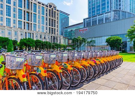 TAIPEI TAIWAN - MAY 31: This is a youbike rack which is a public transport system in Taipei this Youbike station is in the Xinyi financial district area on May 31 2017 in Taipei