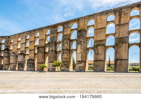 View at the old aqueduct in Elvas city - Portugal