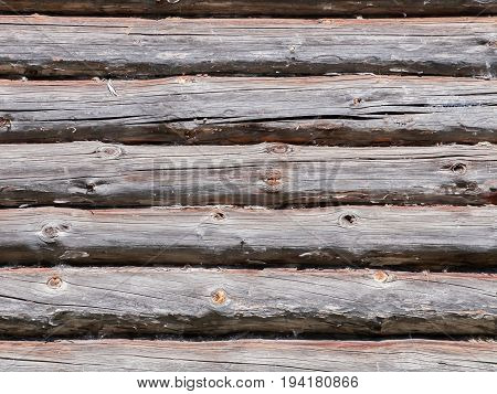 Wall of a wooden house built from logs. Textured background.