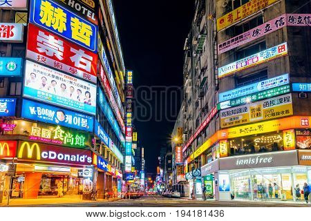 TAIPEI TAIWAN - MAY 27: This is a shopping street in the downtown area at night near Taipei Main Station on May 27 2017 in Taipei