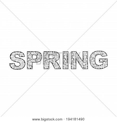 Vector spring lettering illustration made from flowers