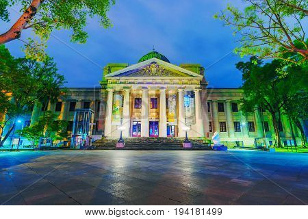 TAIPEI TAIWAN - MAY 27: This is a night view of the National Taiwan Museum where people come to see exhibitions of Taiwanese culture. It is situated in the 228 memorial peace park on May 27 2017 in Taipei