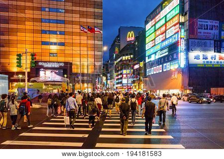 TAIPEI TAIWAN - MAY 27: This is a pedestrian crossing in a shopping area in downtown Taipei near the main station on May 27 2017 in Taipei