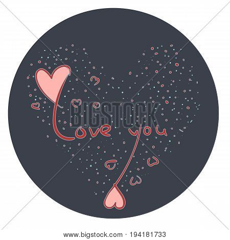 Hand drawn love symbol with red love you text cute little hearts on dark blue background with heart made of blue dots. Love emotion sign for print valentine day and marriage greeting cards banners