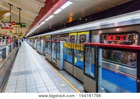 TAIPEI TAIWAN - MAY 21: This is Jiantan mrt station a popular station in Taipei due to it being nearby the famous Shilin night market on May 21 2017 in Taipei