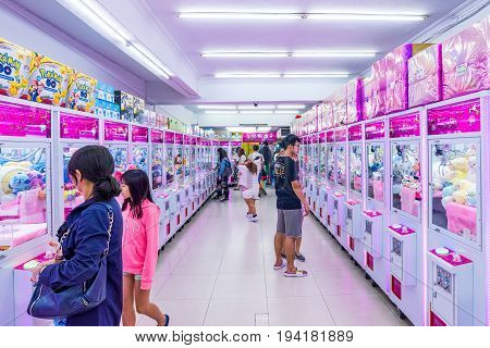 TAIPEI TAIWAN - MAY 20: This is an arcade with crane game machines where people can win soft toys and other prizes. These arcades are common around Taiwanese night markets on May 20 2017 in Taipei