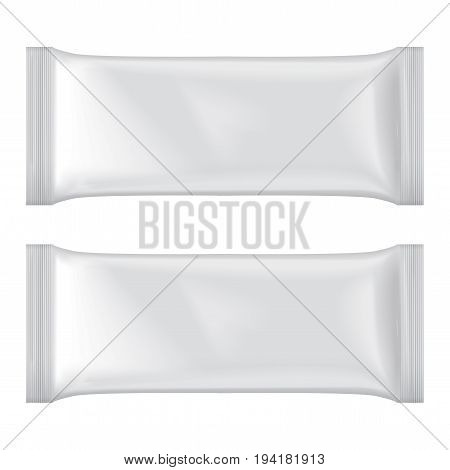 Set Of Ice Cream Package Mock-up, White Blank Plastic Pouch Snack Pack for your design