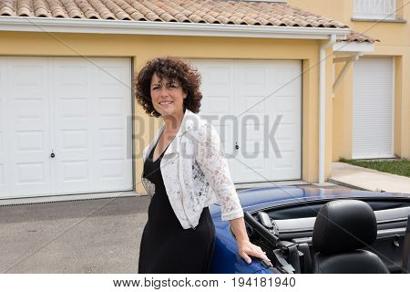 Serious Professional Saleswoman, People Concept - Happy Businesswoman Over Car And Home Background