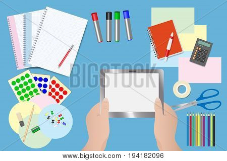 Education supplies and equipment for moderation concept. Hands holding tablet with empty screen are in the middle of the vector.
