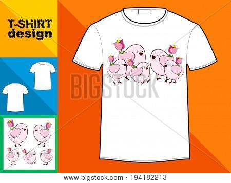 Template T-shirt with an trendy design: Happy family of birds with flowers of tulips.