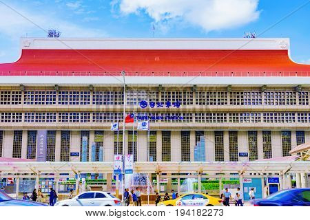 TAIPEI TAIWAN - MAY 17: This is the exterior architecture of Taipei main station it is a landmark and the main transportation building in the downtown area May 17 2017 in Taipei
