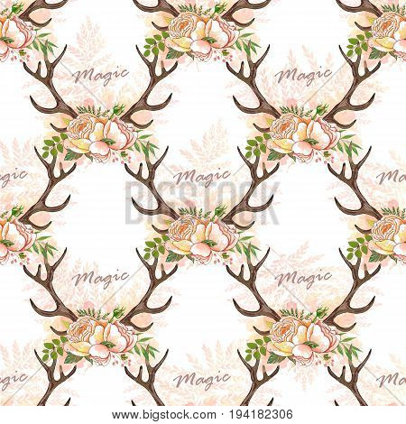 Seamless Summer Boho Tribal Fashion Pattern With Decorative Floral Deer Antlers Vector Background Perfect For Wallpaper